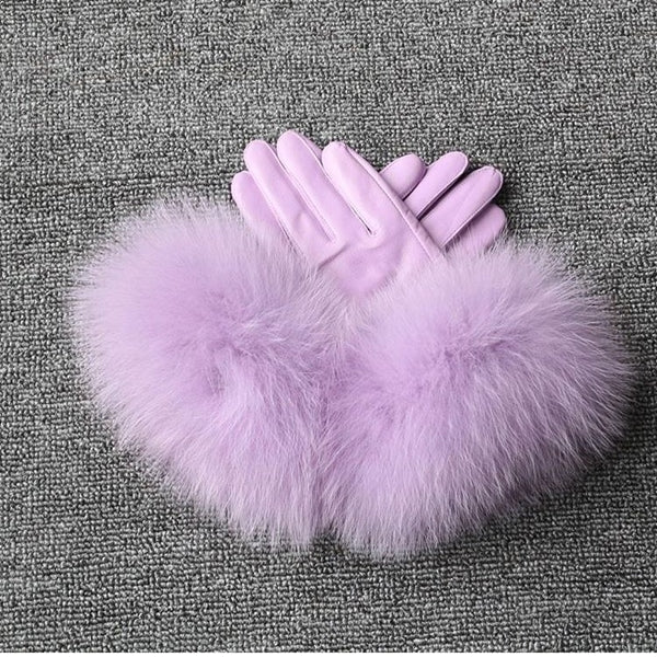 Lilac Leather Fox Fur Gloves - Lilac Fur - Poshpoms