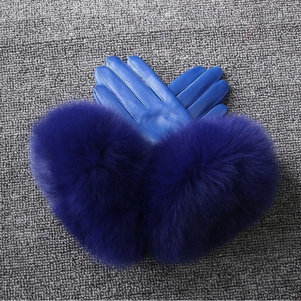 Blue Leather Fox Fur Gloves - Blue Fur - Poshpoms