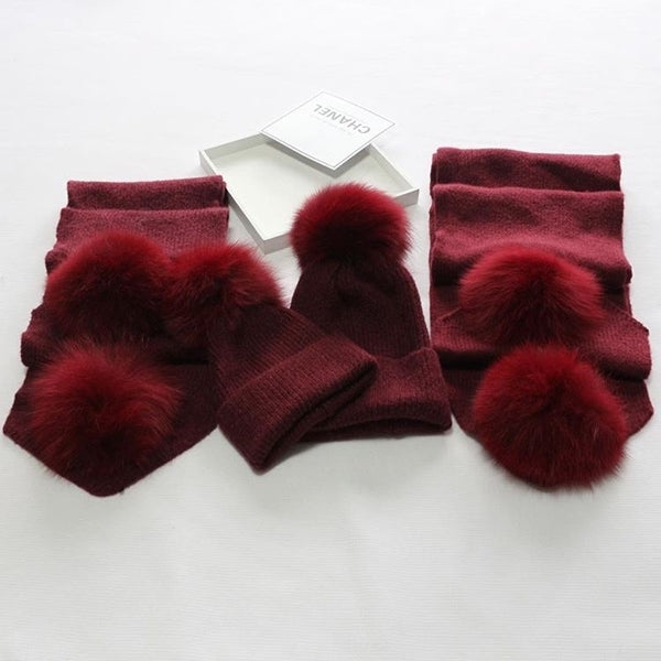 Wine Red Matching Fox Fur Gift Set - Poshpoms