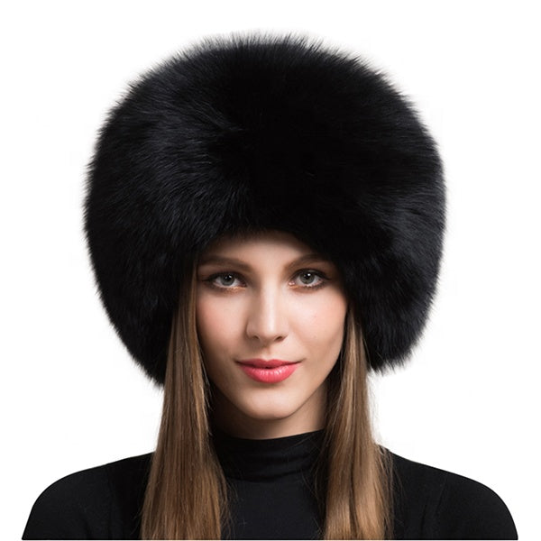 Black Fox Fur Leather Russian Hat