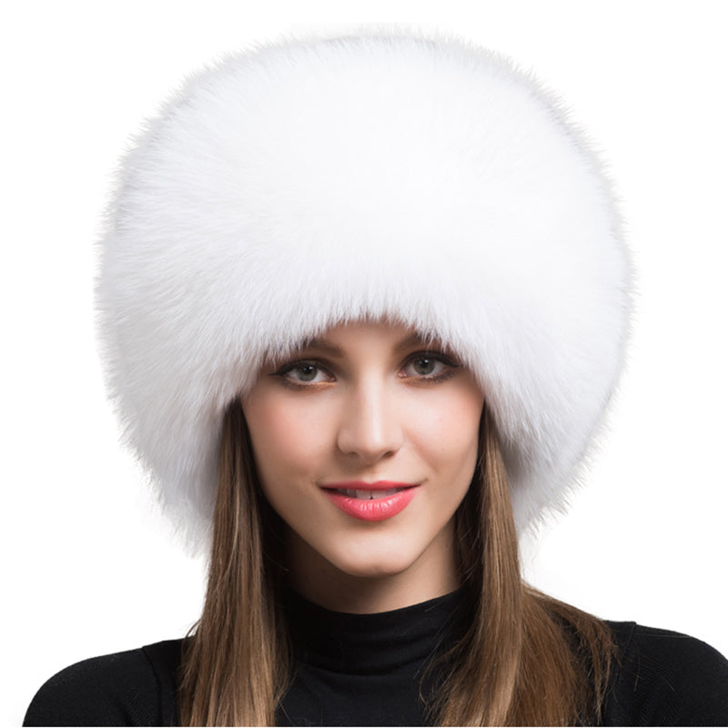 White Fox Fur Leather Russian Hat