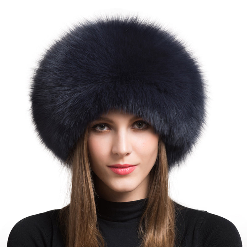 Dark Grey Fox Fur Leather Russian Hat