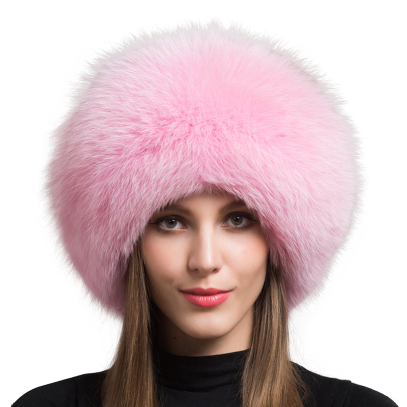 Pink Fox Fur Leather Russian Hat