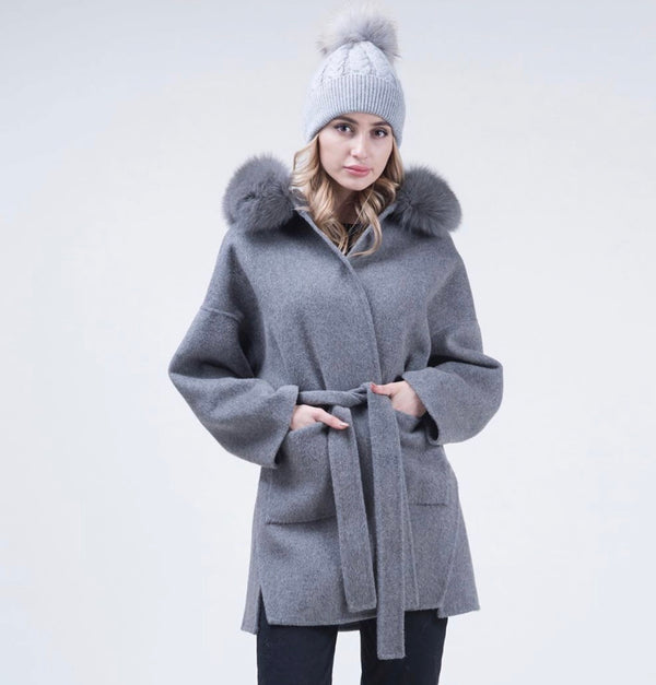 Dark Grey Cashmere Coat - Fox Fur - Poshpoms