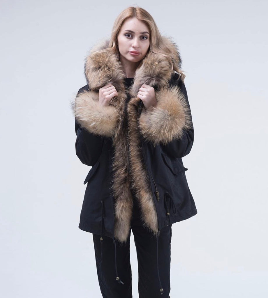 Black Raccoon Fur Parka Coat - Natural Fur - Poshpoms