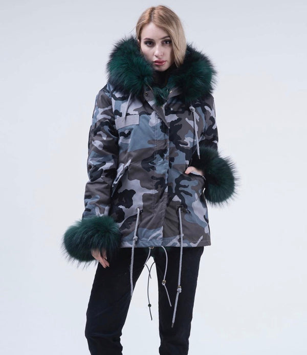Army Fox Fur Parka Coat Long - Green Fur - Poshpoms