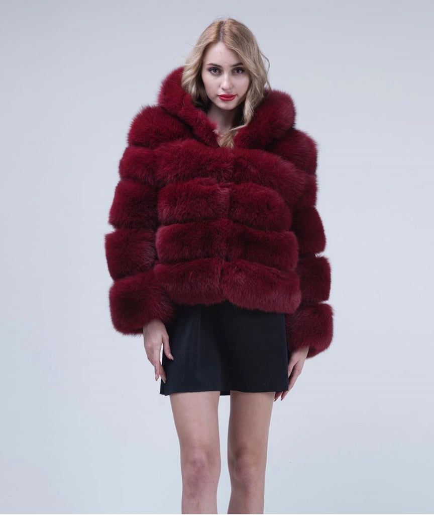Wine Hooded Fox Fur Coat - Poshpoms