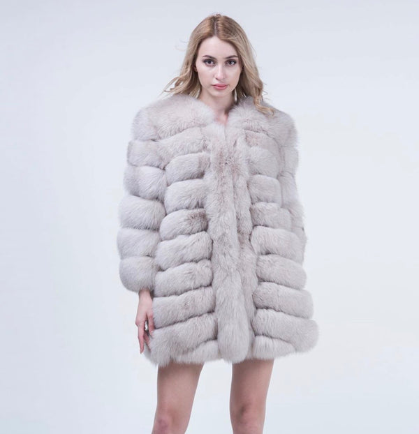 Beige Fox Fur Coat Long - Poshpoms