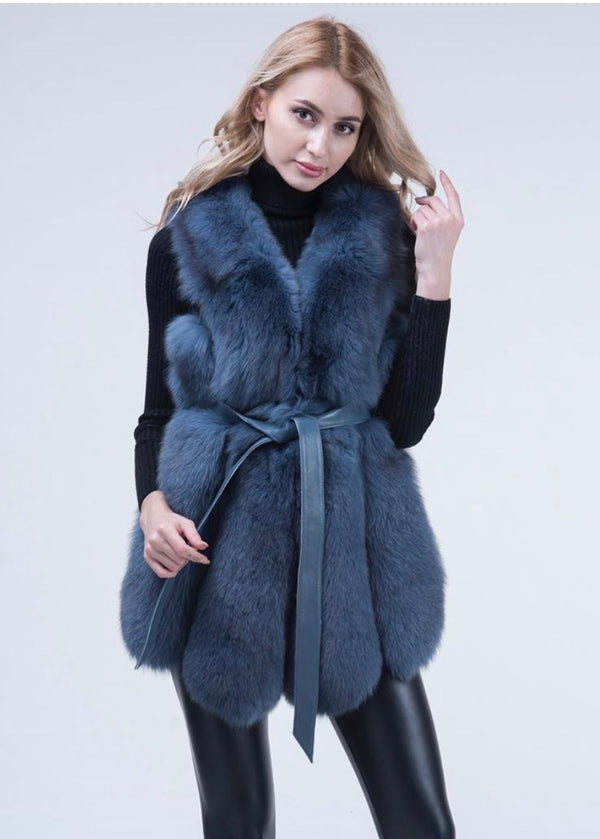 Blue Fox Fur Gilet Louisaa - Poshpoms