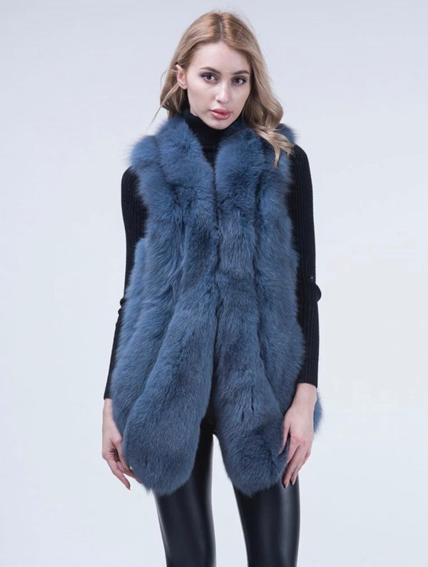 Blue Fox Fur Gilet Espy - Poshpoms