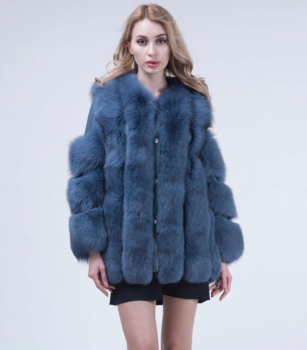 Blue Fox Fur Coat Long - Poshpoms