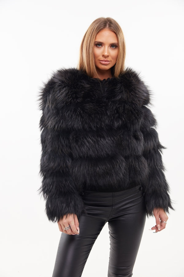 Black Raccoon Fur Four Panel Coat - Poshpoms