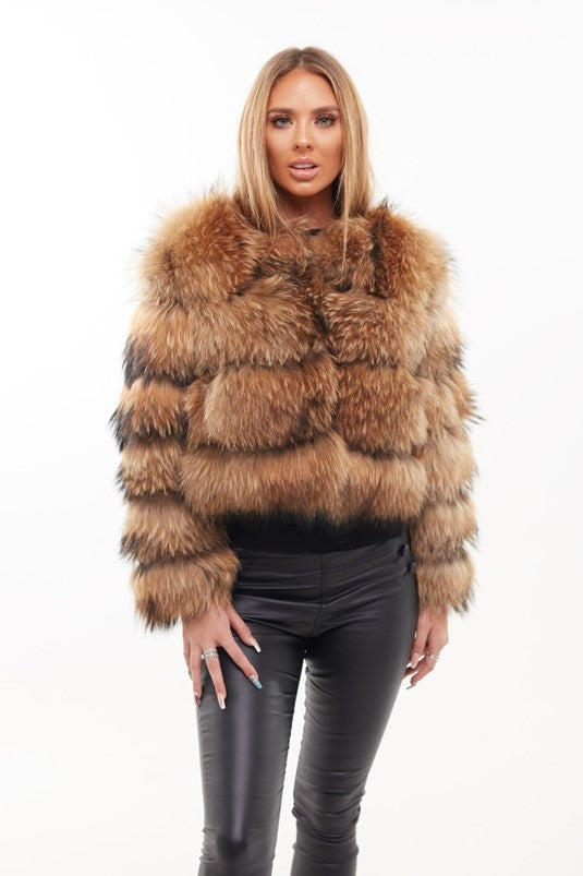 Natural Raccoon Fur Four Panel Coat - Poshpoms