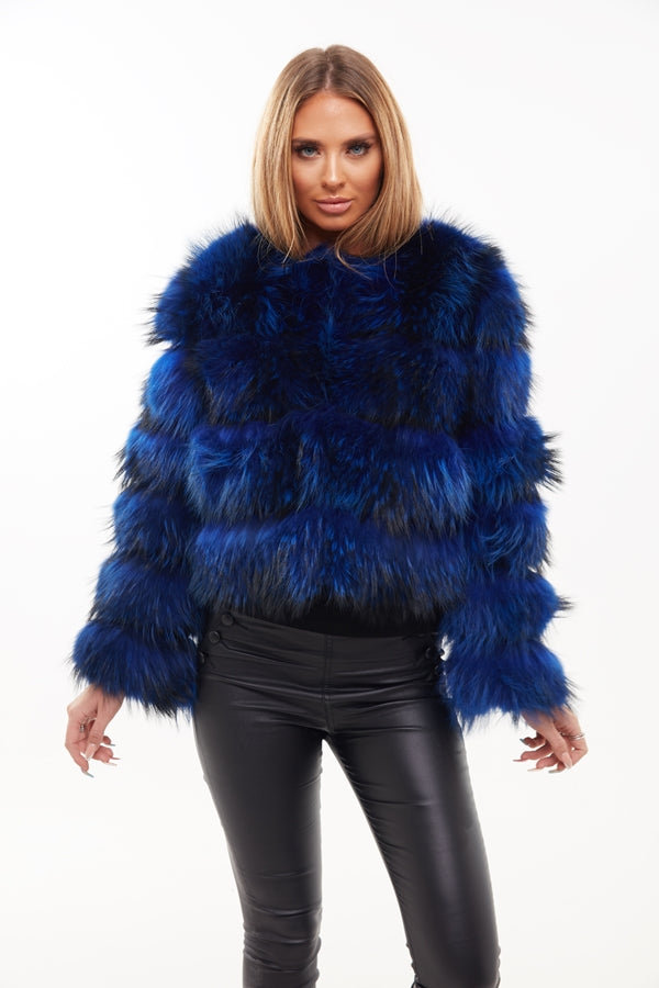 Electric Blue Raccoon Fur Four Panel Coat - Poshpoms