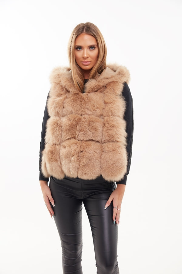 Beige Small Hooded Fox Fur Gilet - Poshpoms