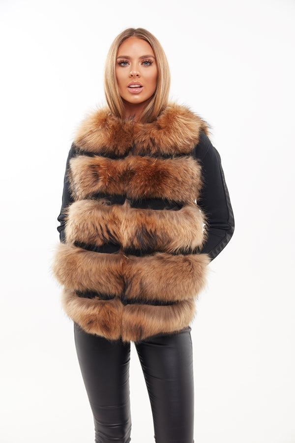 Raccoon Fur Panelled Gilet - Custom Design - Poshpoms