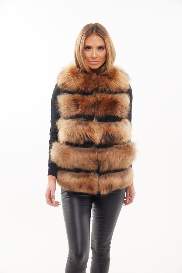 Natural Raccoon Fur Panelled Gilet - Poshpoms