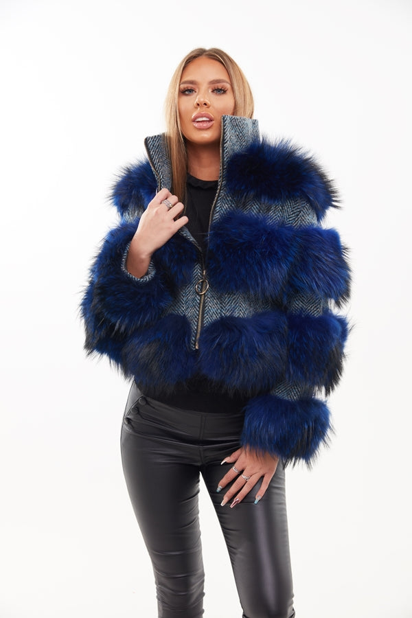 Electric Blue Raccoon Fur Three Panel Coat - Poshpoms