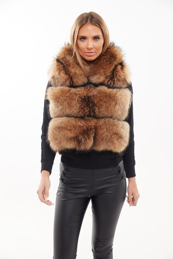 Raccoon Fur Hooded Gilet - Custom - Poshpoms