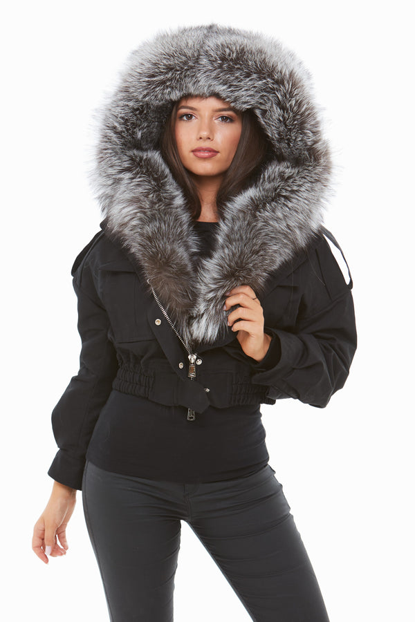 Black Fox Fur Cropped Bomber Jacket - Silver Fox Fur