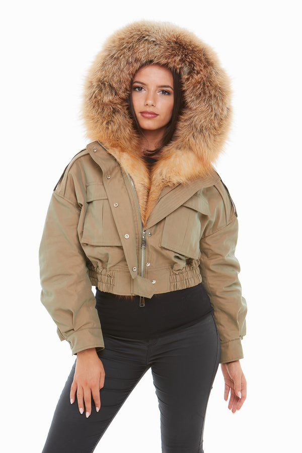 Metallic Khaki Raccoon Fur Cropped Bomber Jacket - Natural Fur
