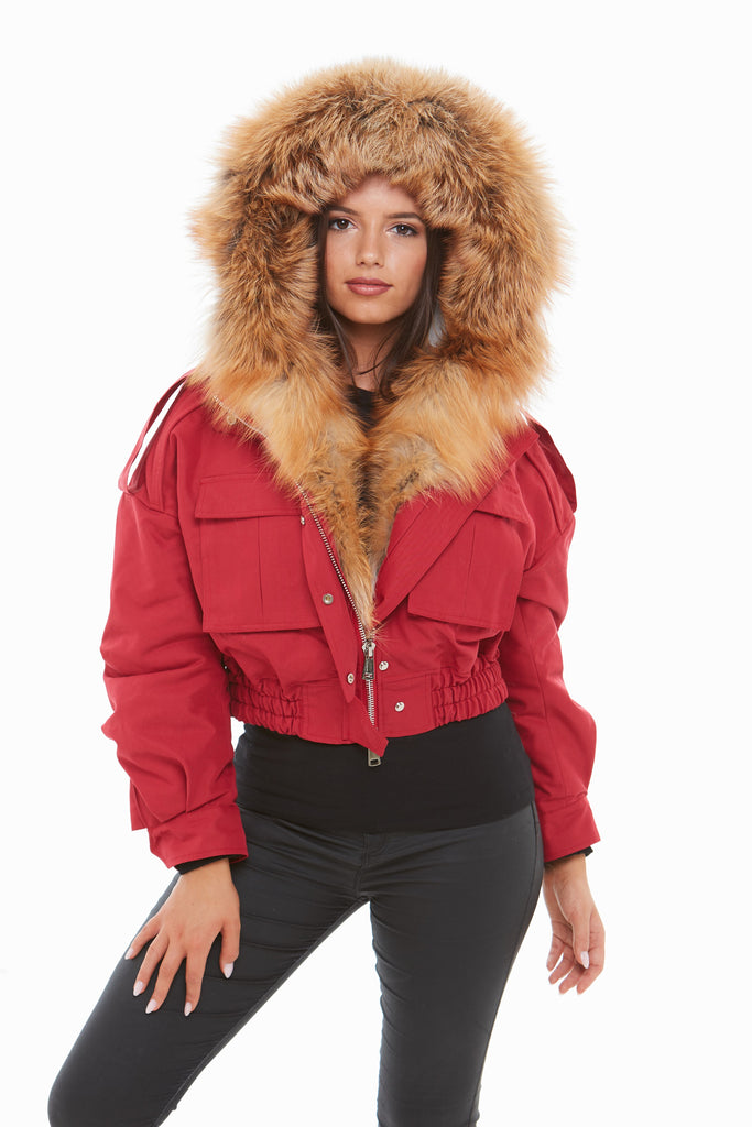 Red Raccoon Fur Cropped Bomber Jacket - Natural Fur