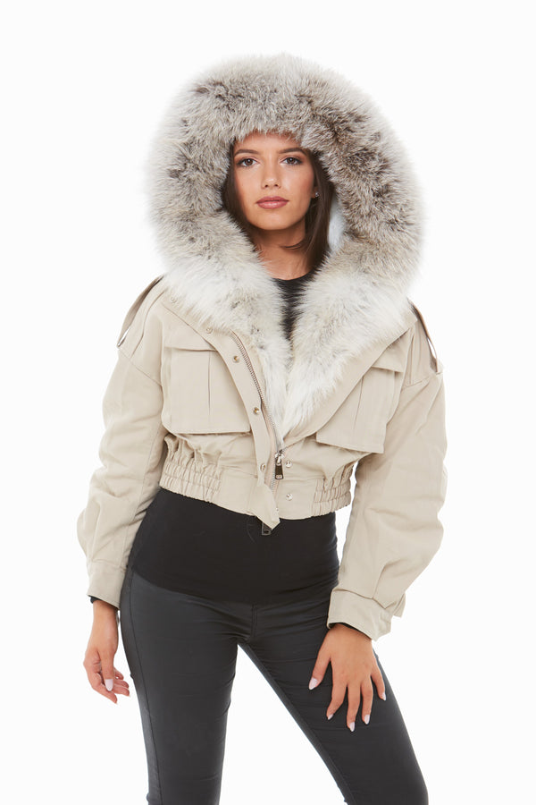 Beige Fox Fur Cropped Bomber Jacket - Natural Fur