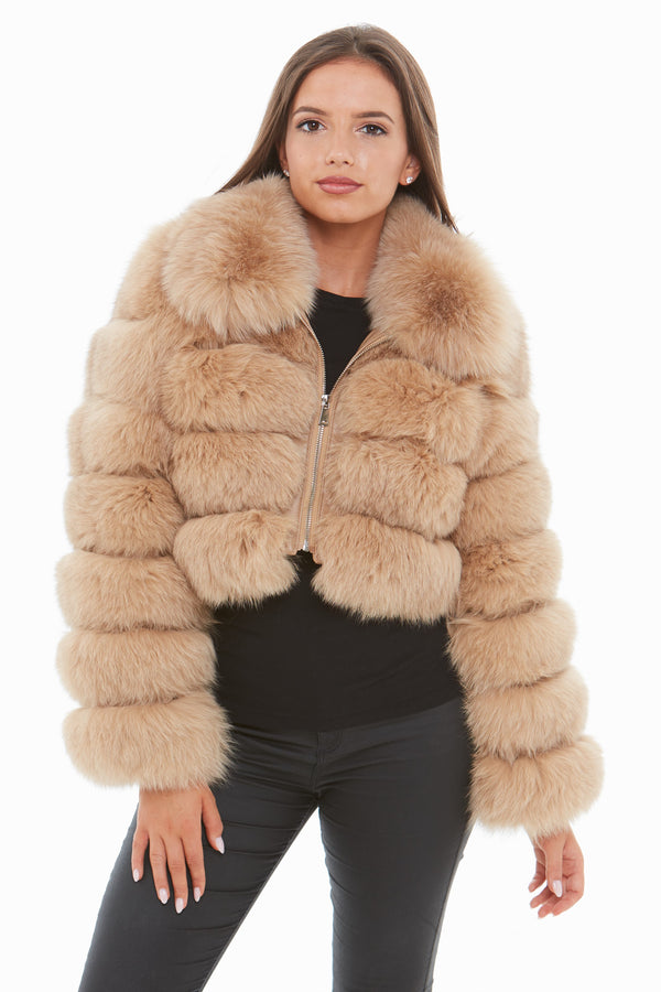 Beige Cropped Fox Fur Coat Zip