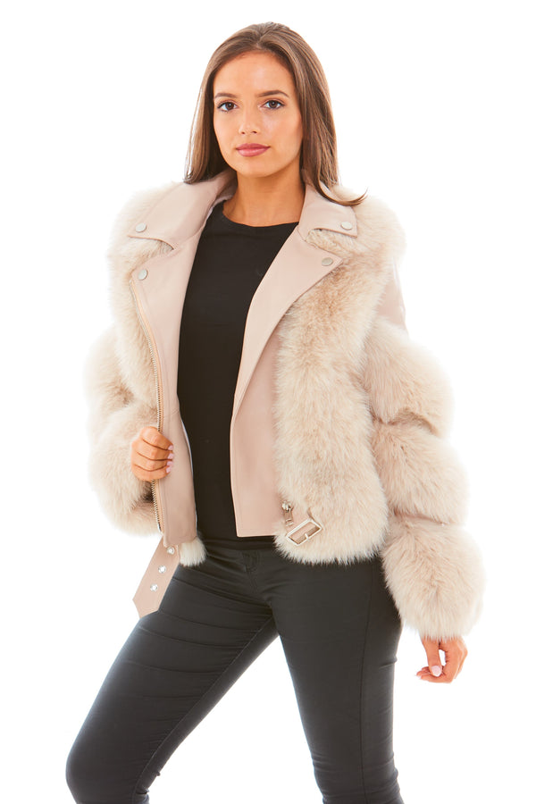 Beige Leather Fox Fur Jacket