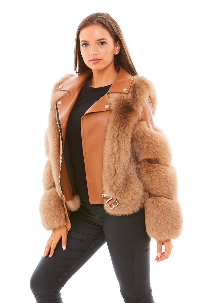 Brown Leather Fox Fur Jacket