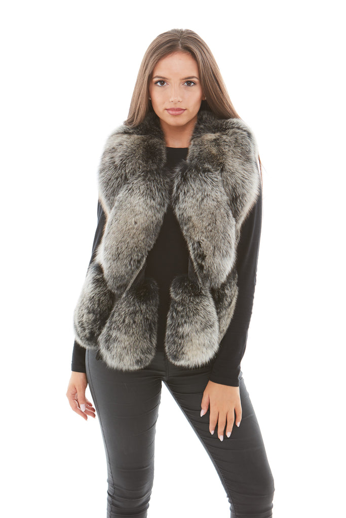 Silver Frosted Leather Fox Fur Gilet
