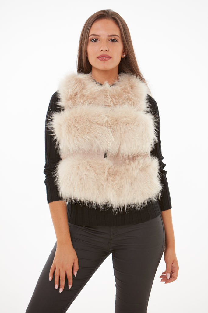 Beige Raccoon Fur Gilet
