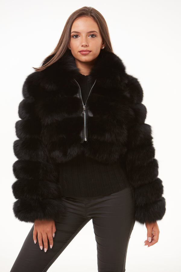 Black Cropped Fox Fur Coat Zip