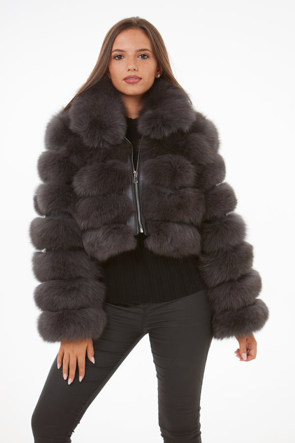 Dark Grey Cropped Fox Fur Coat Zip