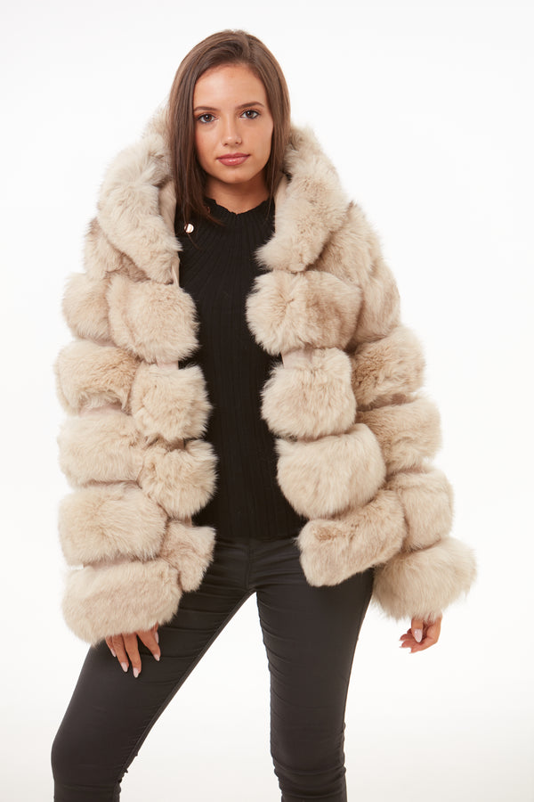 Beige Fox Fur Coat