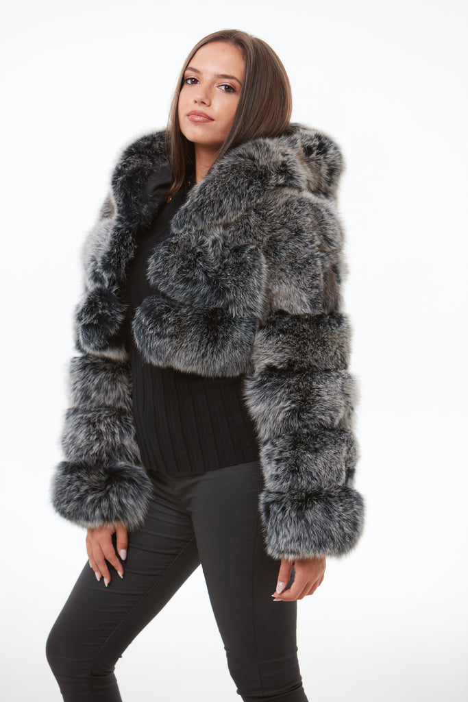 Frosted Cropped Fox Fur Coat