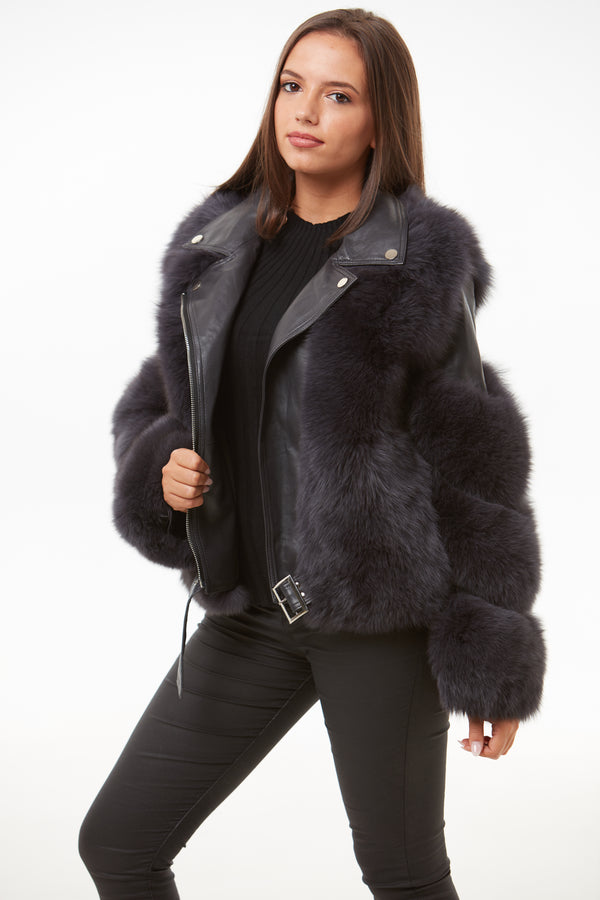 Dark Grey Leather Fox Fur Jacket