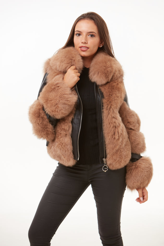 Natural Leather Fox Fur Jacket