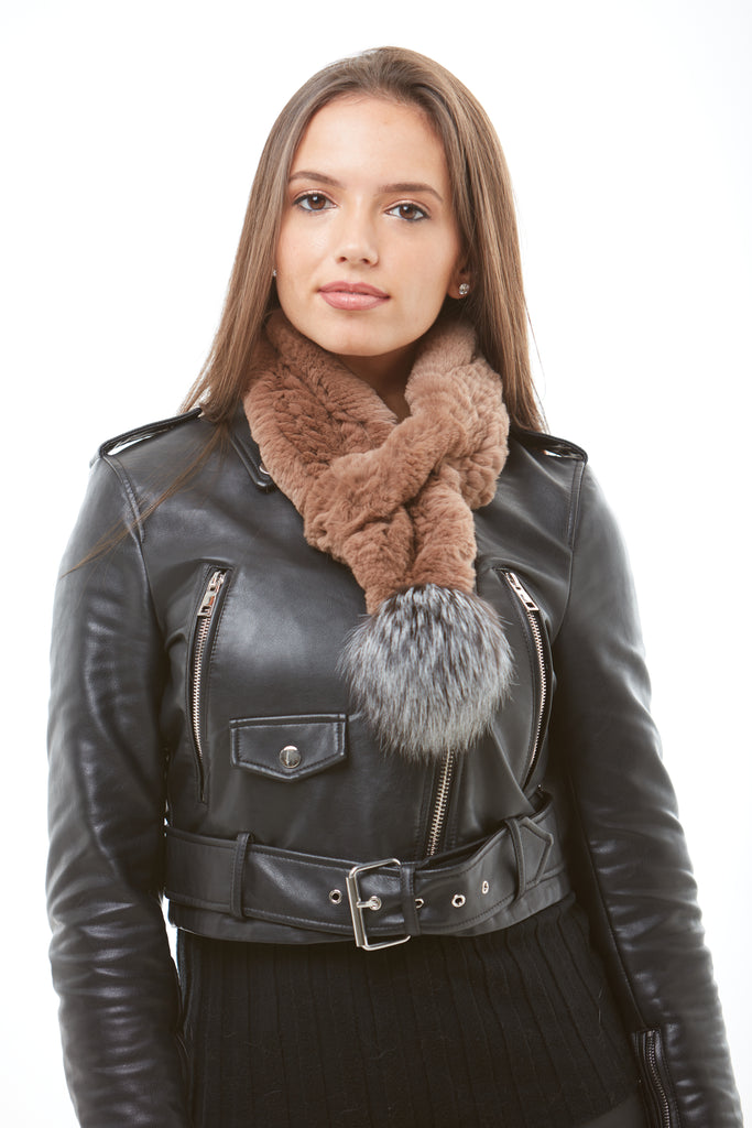 Brown Fox Fur Scarf - Silver Pom