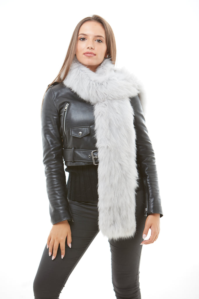 Light Grey Long Fox Fur Scarf