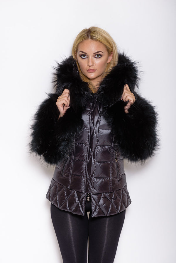 Black Fox Down Coat - Matching Fur - Poshpoms