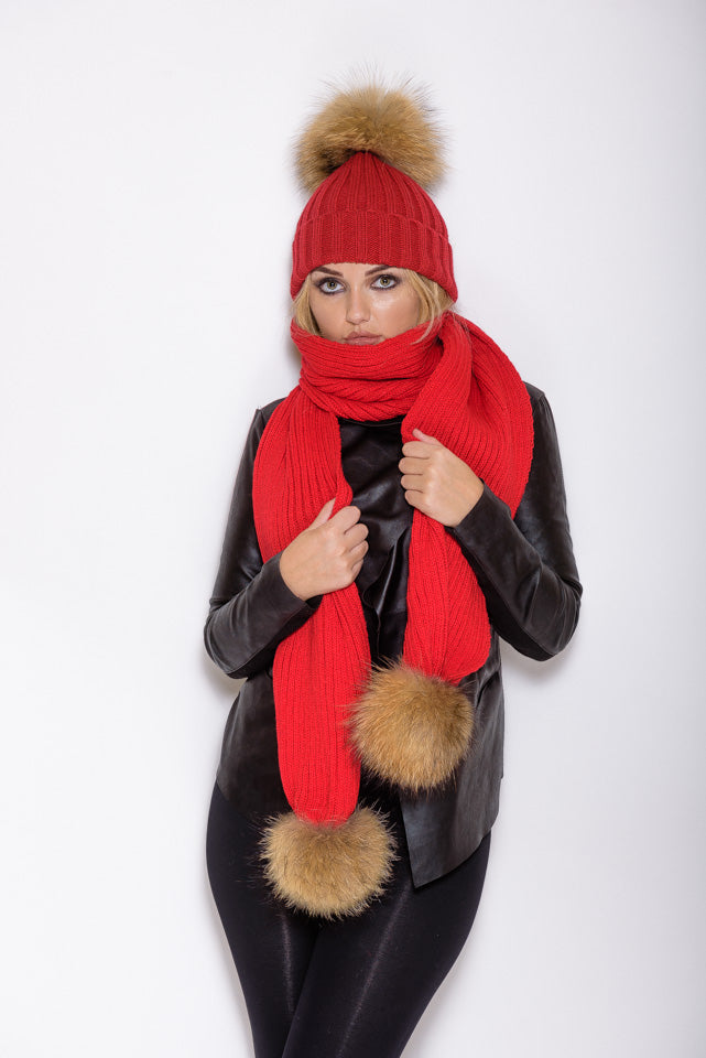 Red Raccoon Fur Scarf - Poshpoms