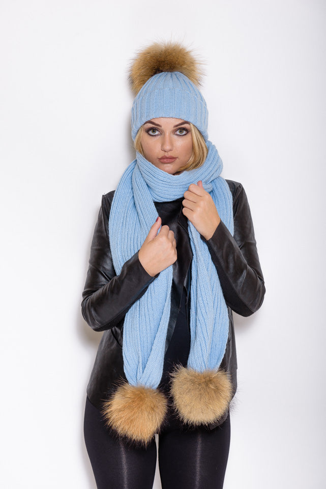 Light Blue Raccoon Fur Scarf - Poshpoms