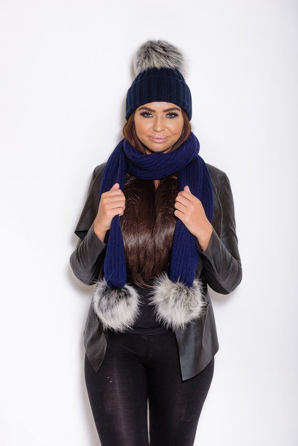 Navy Raccoon Fur Scarf - Poshpoms