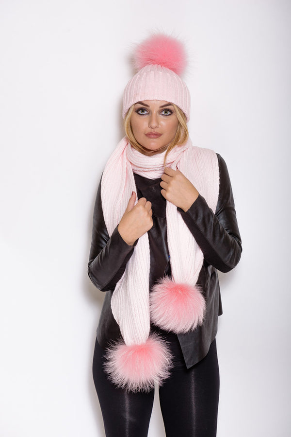 Baby Pink Raccoon Fur Scarf - Poshpoms