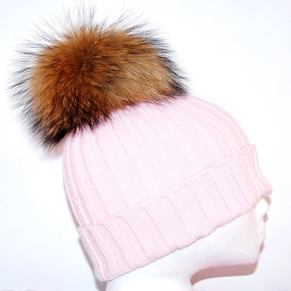 Baby Pink Raccoon Fur Bobble Hat - Poshpoms