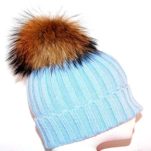 Light Blue Raccoon Fur Bobble Hat - Poshpoms