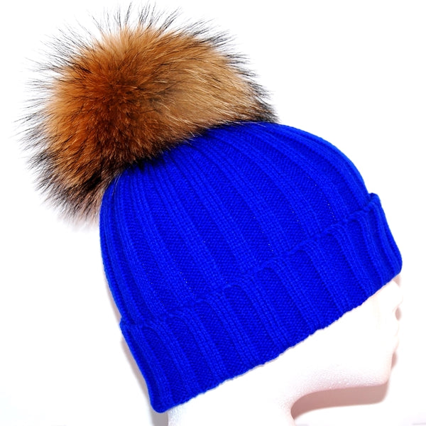 Electric Blue Raccoon Fur Bobble Hat - Poshpoms