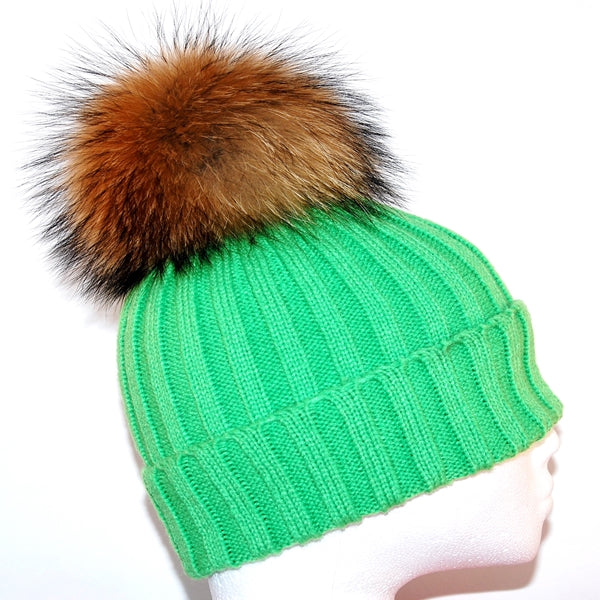 Green Raccoon Fur Bobble Hat - Poshpoms