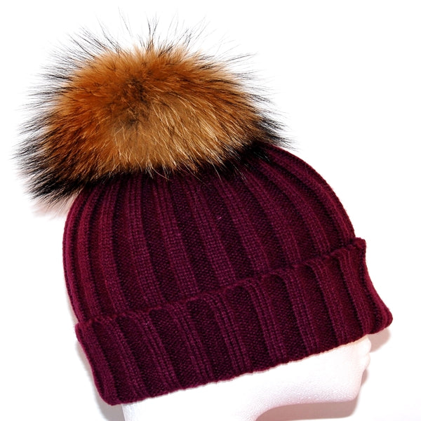 Plum Raccoon Fur Bobble Hat - Poshpoms